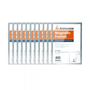 Announce Magnetic Frames A4 Silver 9Pack of 10)