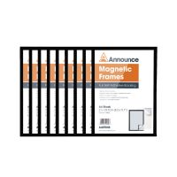Announce Magnetic Frames A4 Black 9Pack of 10)
