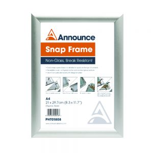 Announce A4 Silver Snap Frame